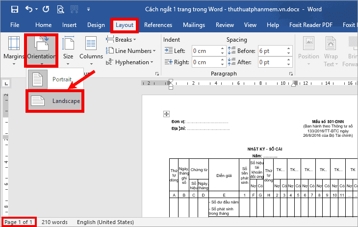 Cách xoay ngang 1 trang giấy trong Word 2010