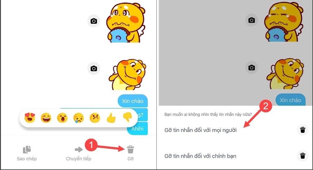Cách xóa tin nhắn đã gửi trong Facebook Messenger