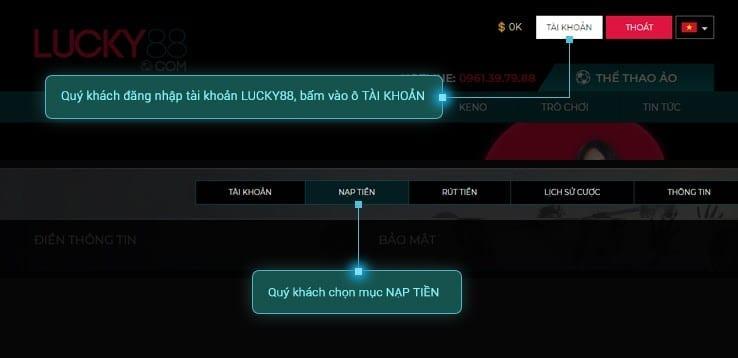 cách đăng ký và nạp tiền Lucky88